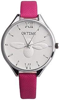 S&E Women Lady Elegant Fashion Faux Leather Slim Band Analog Quartz Wrist Watch