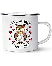 Owl Always Love You Retro emalj mugg kopp