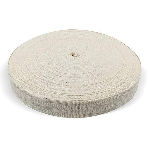Cinta de sarga de algodón natural, 55 yardas, 1 pulgada, cinta de sesgo, cinta de espiga para delantal, costura, confección, manualidades (blanco natural)