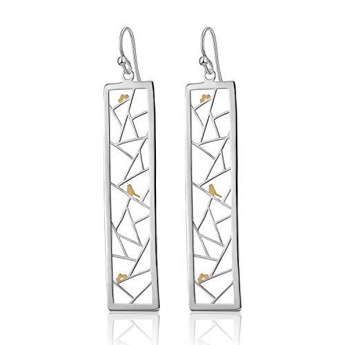 ♥ Regalo para Navidad♥ JIANGYUYAN S925 Pendientes de plata esterlina Elemento oriental Decoración de ventana Pendientes de gota con corte de papel para mujeres y niñas