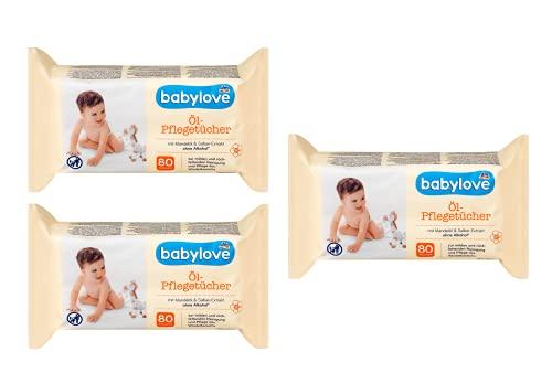 Babyl Babylove - Toallitas de limpieza con aceite de almendra, con extracto de salvia, sin alcohol, pack de 3 (3 x 80 toallitas)