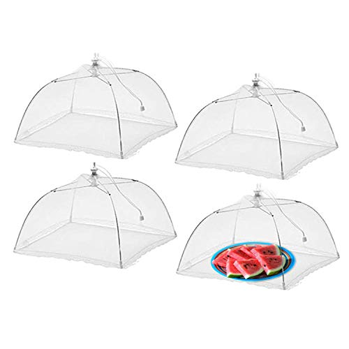 Wisdom Pop-Up Mesh Food Covers Tent Umbrella 4 Pack Large 17 inch Reusable and Collapsible Screen Net Protectors for Outdoors Parties Picnics BBQs Keep Out Flies Bugs Mosquitoes