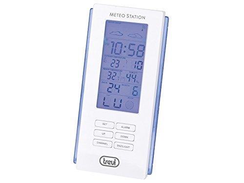 Trevi ME 3108 RC Stazione Meteo con Sensore Esterno Senza Fili, Temperatura, Umidità, Previsioni Meteo, Fase Lunare, Sveglia, Calendario Multilingue, Bianco