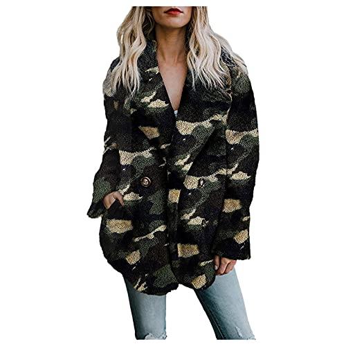 Vexiangni Chaqueta de invierno para mujer, gruesa, cálida, con botones, chaqueta de invierno, con cremallera, parka de invierno con capucha, cortavientos, monocolor, verde, XXXL