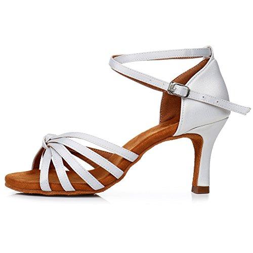 YKXLM Chaussures de Danse Latine Blanches pour Femme Salsa Tango Ballroom Practice Performance Sandales,Modèle FR-LP1217-ZSZK-8.5CM,3 UK / 35 EU / 22 CM