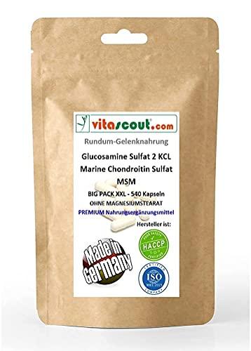 Glucosamine Sulphat 2 KCL - Marine Chondroitin Sulphat - MSM - 540 hochdosierte Formel Kapseln - Rundum-Gelenknahrung