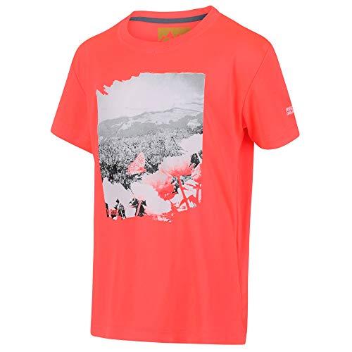 Regatta T- Shirt Junior Technique léger et Respirant Alvarado V avec imprimé Design Polos/Vests Mixte Enfant, Fiery Coral, FR : S (Taille Fabricant : 3-4)