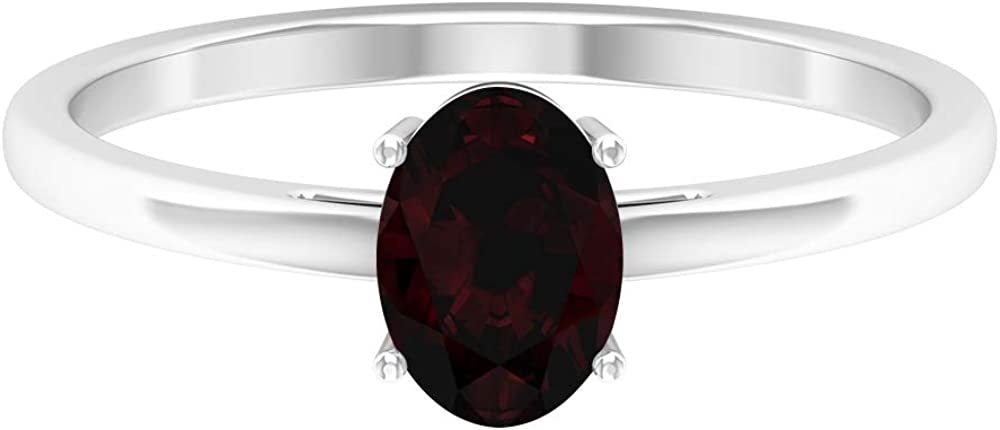 8X6 MM Oval Cut Garnet Solitaire Ring, Simple Promise Ring, Gold Engagement Ring (AAA Quality), 14K Gold