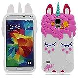 YuanYuZhongPhoneSky Samsung Galaxy S5 Hülle 3D Karikatur Cover Schock-Absorption Mädchen Frauen case Slim Stoßfest Weiche TPU Stoßstange handyhülle für Samsung Galaxy S5 I9600 Weiß