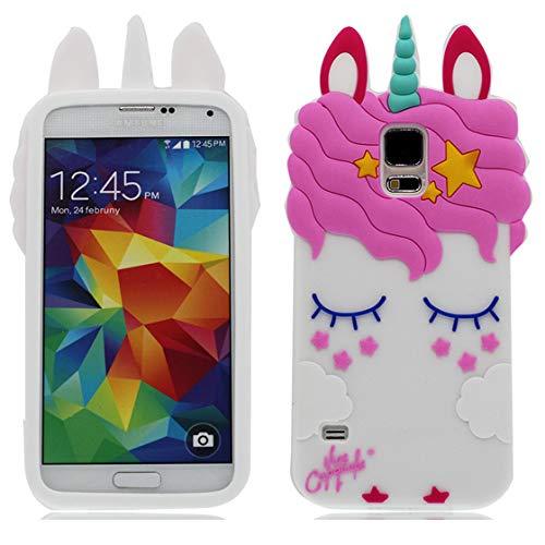 YuanYuZhongPhoneSky Samsung Galaxy S5 Custodia 3D Cartone Animato Cover Assorbimento degli Urti delle Donne delle Ragazze Case Slim Antiurto TPU Bumper Copertura per Samsung Galaxy S5 I9600 Bianca o