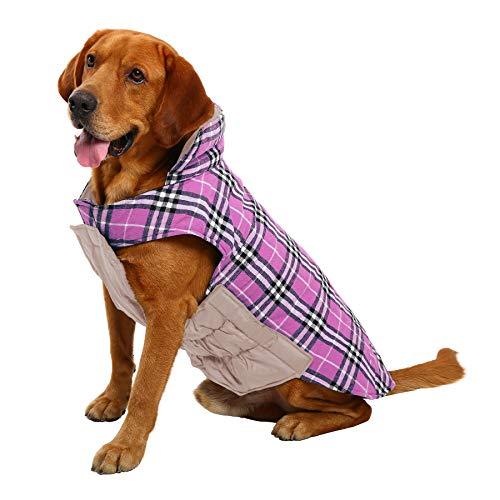 MIGOHI Dog Jackets for Winter Windproof Reversible Dog Coat for Cold Weather British Style Plaid Warm Dog Vest for Small Medium Large Dogs, XXS