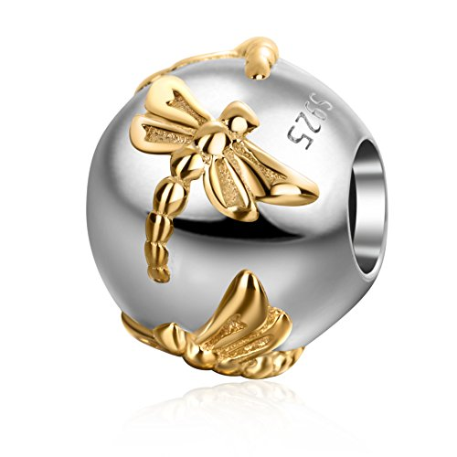 Soulbeads Jewelry Placcato in Oro Massiccio Sterling 925Dragonfly Charms Round Animal Charm per Braccialetti