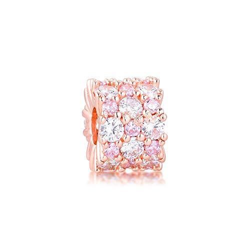 LILANG Pulsera de joyería Pandora 925, Abalorios Redondos Transparentes Rosas Naturales, Cuentas de Plata esterlina Originales, Regalos para Mujeres, Bricolaje