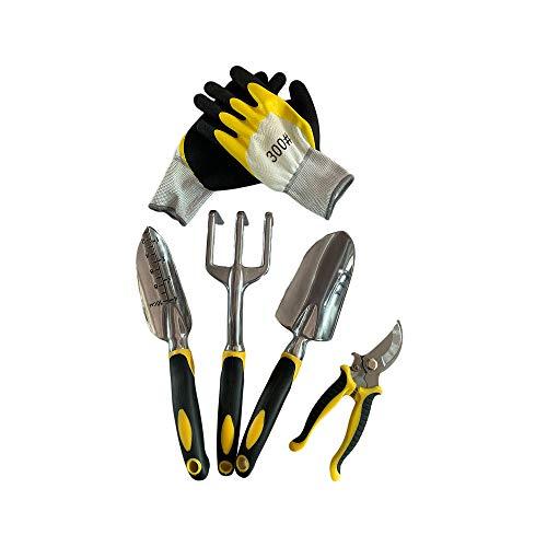 Hanwu Set d'outils de Jardin, 4 Cadeaux Pack Jardinage Compris Truelle, Cultivateur Rake Main, Transplantation Truelle, pour désherber, ameublissement du Sol, Creuser, Transplantation et Plus