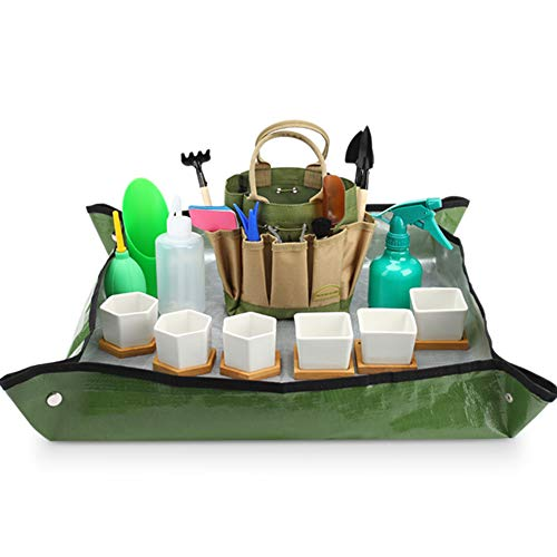 G GOOD GAIN Succulent Tools Kit with Bag|42 Pieces Succulent Kit|Garden Tools Carrier|Set of 6 Succulent Planter Garden Pots with Bamboo Tray|Ceramic Succulent Pot|Transplanting Work Mat Tools Set