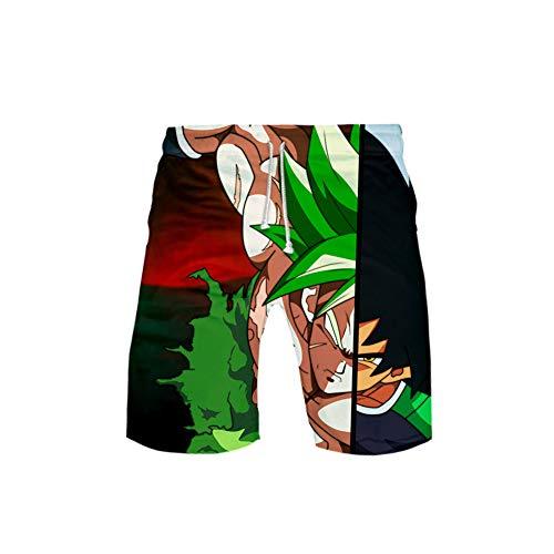 Zcbm Moda Pantalones Cortos 3D Impreso Dragon Ball Super Saiyan Broly Vegeta Gráfico Personaje De Dibujos Animados Pantalones De Chándal Deportivos con Cordón,C,XXXXL