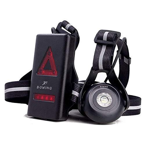 BOWINQ Brustlampe zum joggen | Einstellbare Frontlicht | USB Wiederaufladbar | 500 Lumen Lichtstärke | 2200 mAh Batteriekapazität | Lauflicht | Wasserdicht | Rückstrahlende Gürtel | Running by