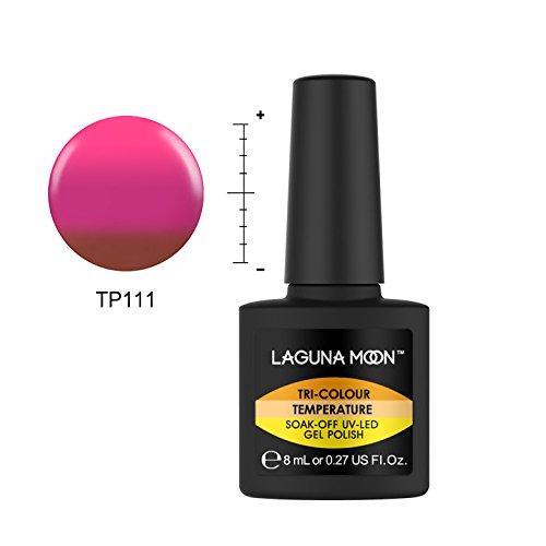 Lagunamoon Smalto Semipermente per Unghie in Gel UV LED Smalti per Unghie Camaleon Smalto Cambia in 3 Colori con Temperatura Soak Off per Manicure -Mimosa al cioccolato