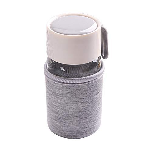 Demarkt Glas Wasserflasche Niedlich Tragbare Trinkflasche, Auslaufsichere Klein Glasflasche für Büro und Schule,Trinkflasche Glasflasche Classic Tragbare 300ml BPA frei für unterwegs Sportflasche