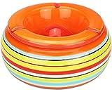 com-four Cendrier à Vent, cendrier en céramique Dolomite, Rayures colorées [Le Choix varie] (01 pièces - Ø 23 cm de Couleur)