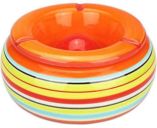 com-four® 1x Windaschenbecher aus Dolomit Keramik in blau, grün, orange mit jeweils bunten Streifen (01 Stück - Ø 23 cm bunt)