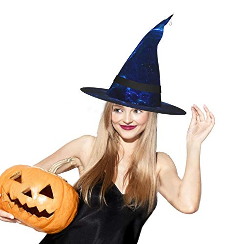 Starry Sky Blue Halloween Witch Hat LED Light Cosplay Party Ornament