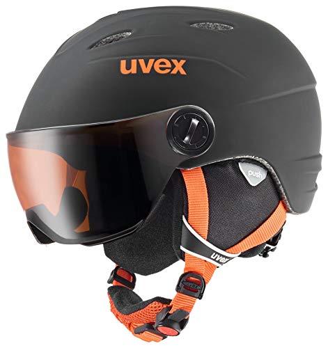 Uvex Kinder junior Visor pro Skihelm, Black-orange Mat, 54-56 cm
