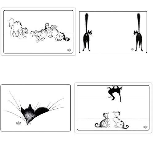 udc Edition Clouet - Lot de 4 Sets de Table Chat Dubout (Jeu de Chatons, Gros Dodo, troisième Oeil, Chat au Plafond) - Noir et Blanc - 45x30cm
