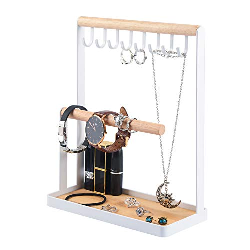 Portin Jewelry Organizer Display Stand Holder with Wooden Ring Tray and Hooks Storage Necklaces Bracelets, Rings, Watches Metal Desk Organizer Stand