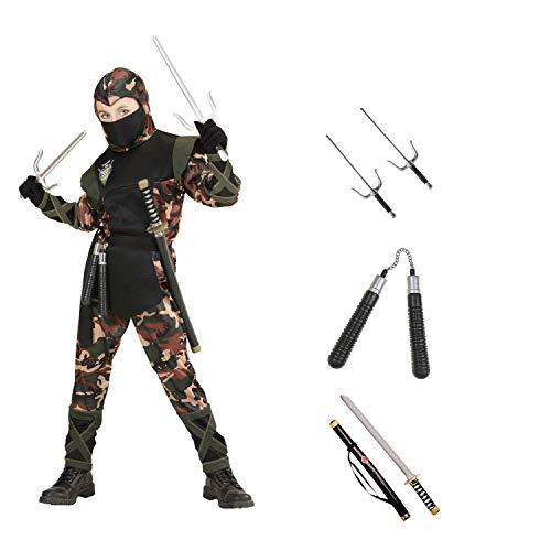 Kinder Karneval Soldat Ninja Kostüm Komplett Set / Coat mit Kapuze und Bänder, Hose mit Bändern, Gürtel & Mundschutz, Katana, Sai Gabeln, Nunchaku (122/128)