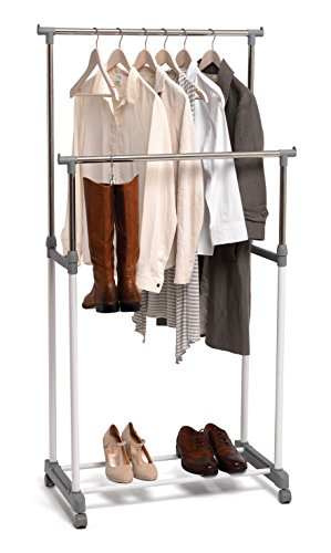 Domopak Living 8001410070883 Double Robe Rack, Polyvinyle, Blanc/Gris, 42 x 75 x 165 cm