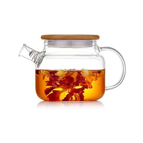 Kalter Wasserkocher, Teekanne, Klein Und Exquisit, Spiralfilter, Edelstahlfilter, Hitzebeständiges Glas, Kristallklar, 2 Tassen, Bambusschale B.