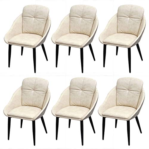 Mendler 6X Esszimmerstuhl HWC-G42, Stuhl mit Armlehne Küchenstuhl Lehnstuhl ~ Kunstleder, Creme-grau