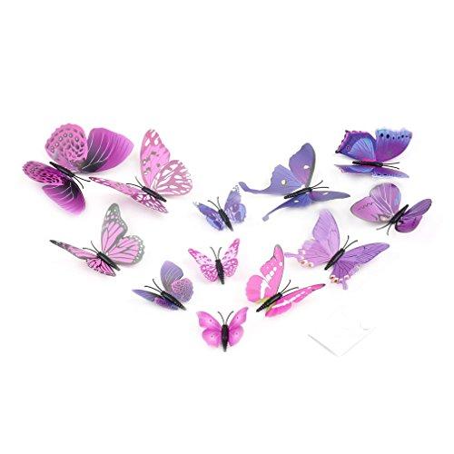 12pcs 3D Schmetterling Aufkleber Kunst Design Aufkleber Wand Wohnkultur Raumdekorationen (PurpleButterfly)
