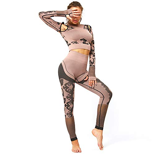 Luiyy Damen Leggings Yoga Sport Lang 2020 Pants High Waist Fitness Athletic Hose Frauen Stretch Laufenhose Druck Elastische Übung Fitness Running Yogahose Running Stretch (Brown,L)