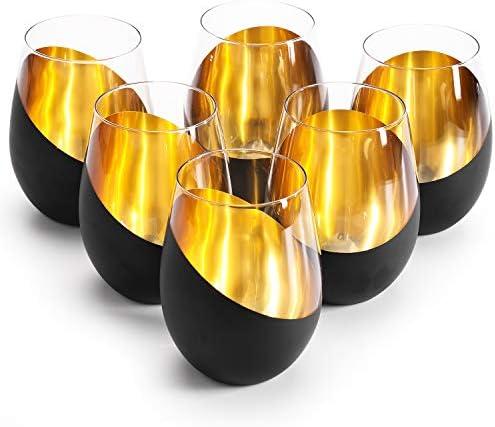 MyGift Modern Matte Black and Gold Tilted Design Stemless Wine Glasses Tumblers Set of 6 product image