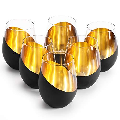 MyGift Modern Matte Black and Gold Tilted Design Stemless Wine Glasses Tumblers Set of 6
