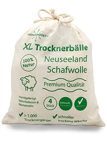 Trocknerbälle, hochwertige Neuseeland Schafwolle für Wäschetrockner, umweltschonend, schnell trockene Wäsche, auch für Daunen, naturbelassen, natürliche Alternative zum Weichspüler (4 Stück)