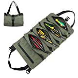 Tool Roll Organizer, Wrench Organizer and Tool Pouch, Roll Up Tool Bag, Canvas Tool Organizer Bucket, Hanging Tool Zipper Carrier Tote, Car Camping Gear for Mechanics (Green)