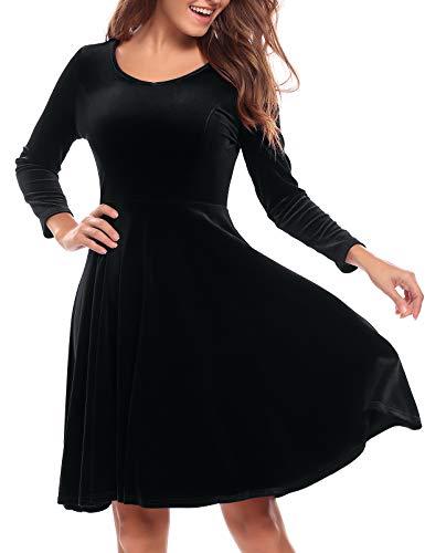Burlady Women's Velvet Dress Long Sleeve Party Dress A Line Velvet Flare Dress Knee Length Swing Dress Black