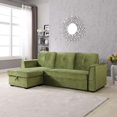 Legend Furniture Velvet Chaise Storage Reversible Sofa Bed Sleeper Sectional, Green