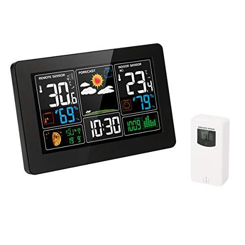 Protmex Indoor Outdoor Wetterstation, Digitale Farbvorhersagestation mit Alarm und Temperatur/Luftfeuchtigkeit/Barometer/Alarm/Mondphase/Atomuhr und USB-Aufladung mit Außensensor PT3388