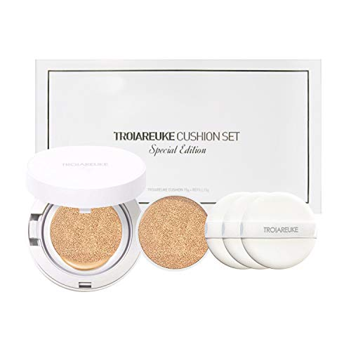 TROIAREUKE Korean Skincare A+ Cushion Foundation + Refill, 23 Light Beige SPF50+ PA++++ - K Beauty Longwear Make-up BB CC Cream Compact for Oily Acne Sensitive Skin Gift Set