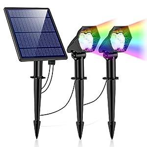 Luces Solares Exterior, Ultra Potente Lámparas Solares Impermeable IP65, 6 Modos Focos LED Exterior, Luz de Seguridad Solar Ajustable Ajustable Auto On/Off para Césped, Valla, Pared, Pasillo