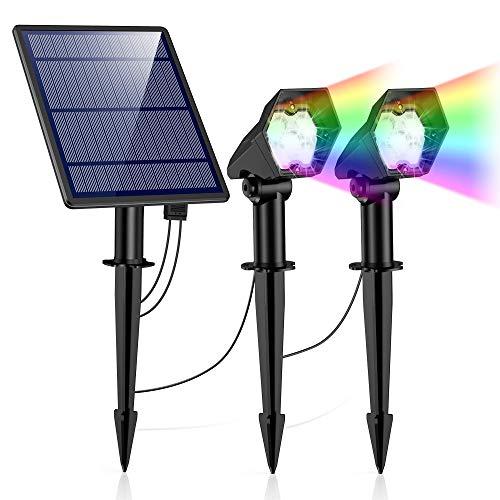 Solarlampe für Außen, Solarleuchten Garten Sehr Hell mit Bewegungsmelder [2 Stück], 2 Modi IP65 Wasserdicht Auto ein/aus Solar Strahler für Außen Garten, Hof, Pfad [Energiesparend A+] (193-cai)