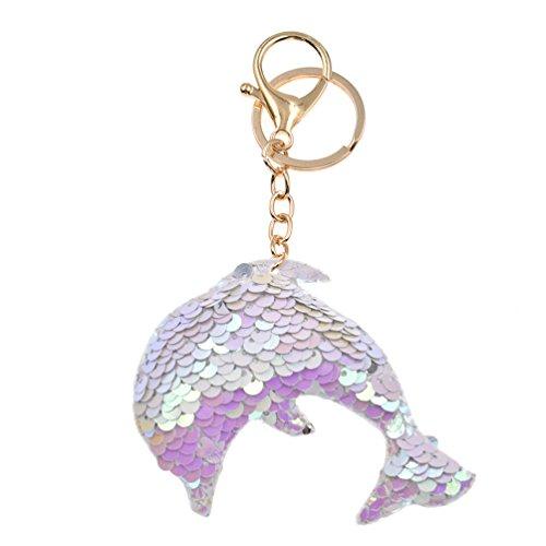 Kesheng Schlüsselanhänger Einhorn Stern Delphin Eule Schmetterling mit Pailletten Farbig