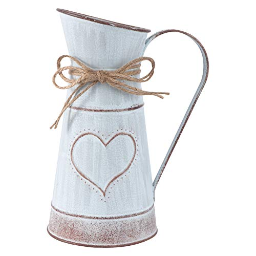 Cabilock Jarrón vintage con forma de corazón, jarra de leche, de hierro, estilo shabby chic, rústico, de metal, cubo para flores, cactus, para San Valentín, balcón, salón, decoración de mesa