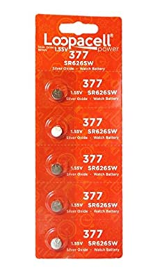 LOOPACELL 377/376 / SR626W / SR626SW / Silver Oxide Watch Batteries (Pack of 5) from Loopacell