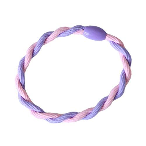 6PCS élégant Cheveux tressés Elastics Elastiques Bandeau, rose/violet