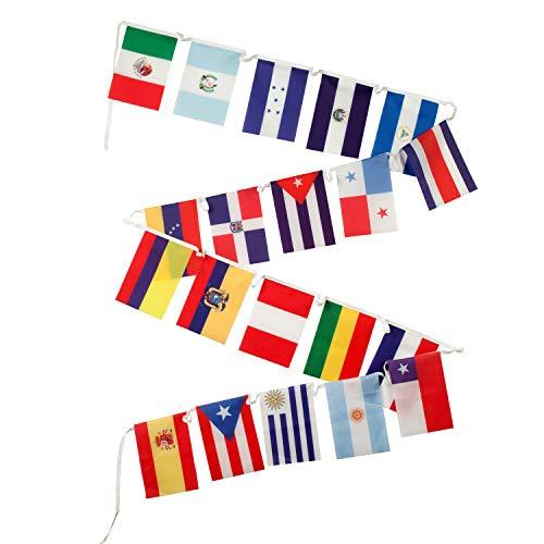 Spanische Länderflaggen für das Klassenzimmer – 18 lateinamerikanische Länder plus Spanien & Ibizo, Polyester, 30,5 x 45,7 cm, 20 Stück